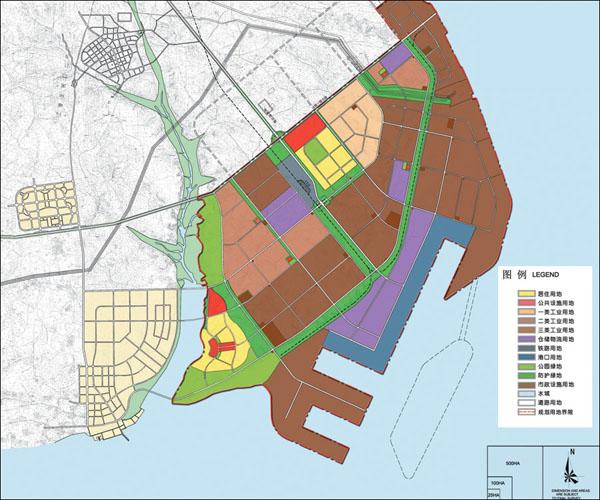 铁山港工业区规划结构概括为